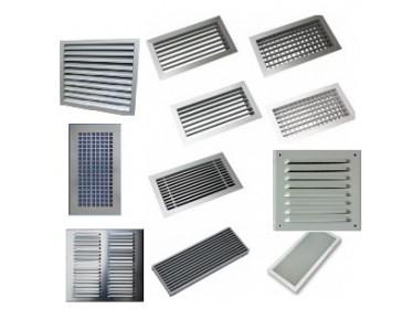 Vetracie mriežky nástenné a podlahové kovové a hliníkové