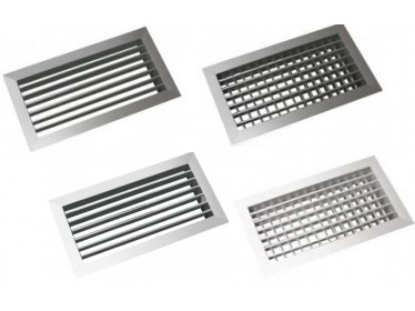 Nástenné vetracie mriežky hliníkové s nastavitelnými lamelami jedno a dvojradové biele
