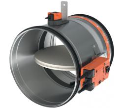 CR60+BFLT24 - Ø100mm - Motorická protipožiarna spätná klapka medzi kruhové potrubia - 90 minút - 24V motorom -72°C tepelnou poistkou